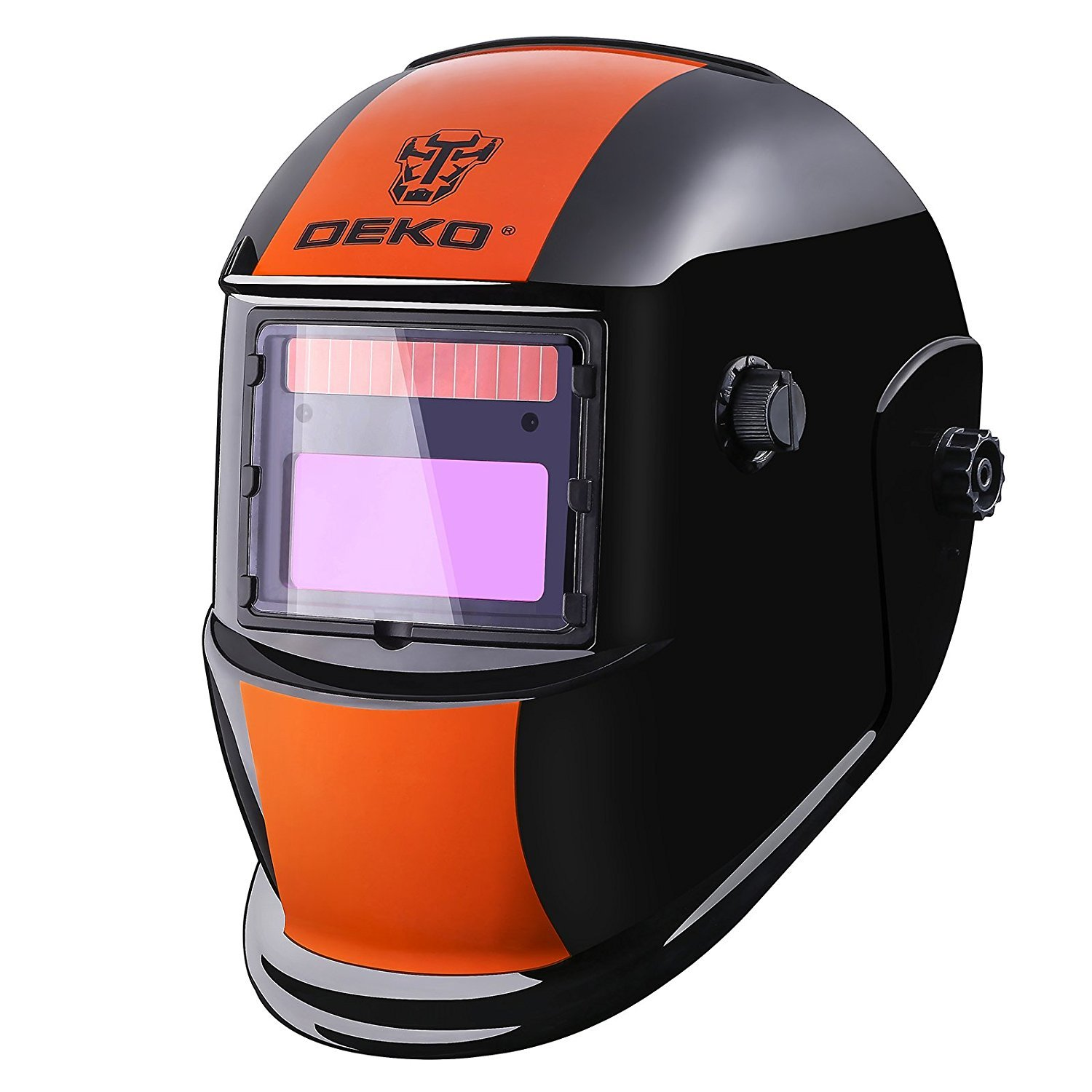 DEKOPRO Welding Helmet Solar Powered Auto Darkening Hood with Adjustable Shade Range 4/9-13 for Mig Tig Arc Welder Orange Black by DEKOPRO