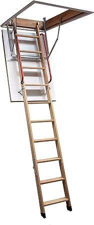 Escalera para desván con pasamano doble (madera de alerce, estructura: 1300 x 700 mm, distancia entre techo y suelo: hasta 3,2 m), de BPS Access Solutions: Amazon.es: Bricolaje y herramientas