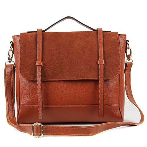 100% Genuine Leather Satchel bag with Suede flap (Tan W8838)  Amazon.co.uk   Shoes   Bags 9c98127ccf76f