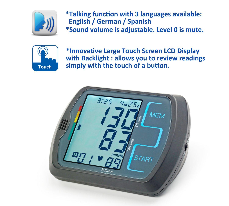 ObboMed MM-4750 Monitor de presión arterial digital de parte superior del brazo con función de voz, pantalla táctil