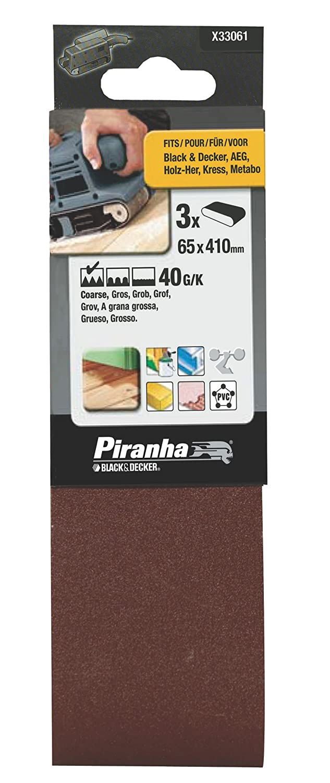 Black+Decker X33061-XJ - 3 Bandas de lija. 65 x 410 mm.Grano 40. Madera, pintura, barniz, yeso, metal y plá stico. Larga Duració n. metal y plástico. Larga Duración. Black&Decker