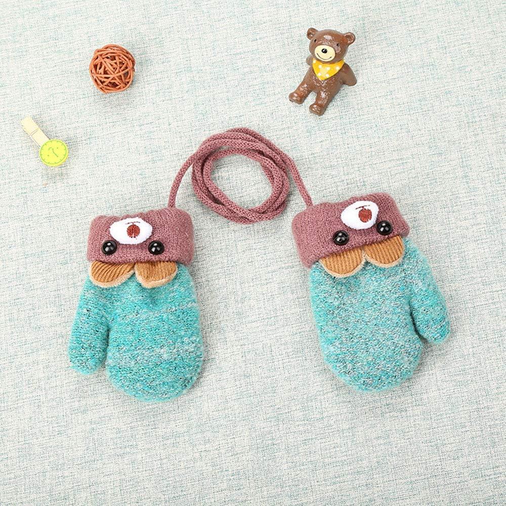 FFEM Bambino bambino inverno carino orso cartone animato guanti da bambino inverno maglia lana guanti appena nati velluto spesso bambini bambini tenere il dito al caldo