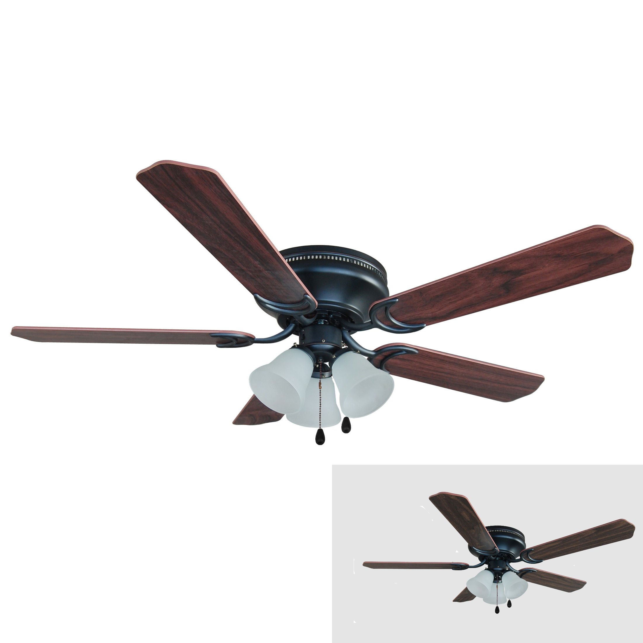 Hardware House 17-4800 Oil Rubbed Bronze 52-Inch Flush Mount Ceiling Fan with Light Kit, Cherry or Walnut Blades