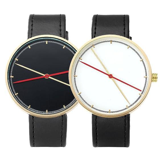jsdde Relojes, Retro Reloj de Pulsera Cuero PU Banda de Socios Pareja Relojes Long manecillas Reloj analógico de Cuarzo par de Relojes 2 x: Amazon.es: ...