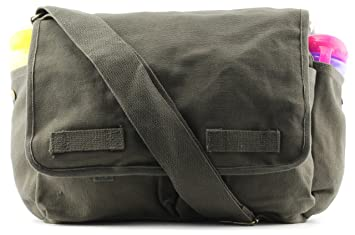 Heavyweight Army Canvas Messenger Shoulder Bag Carry-All Bookbag ca2e894b5f0