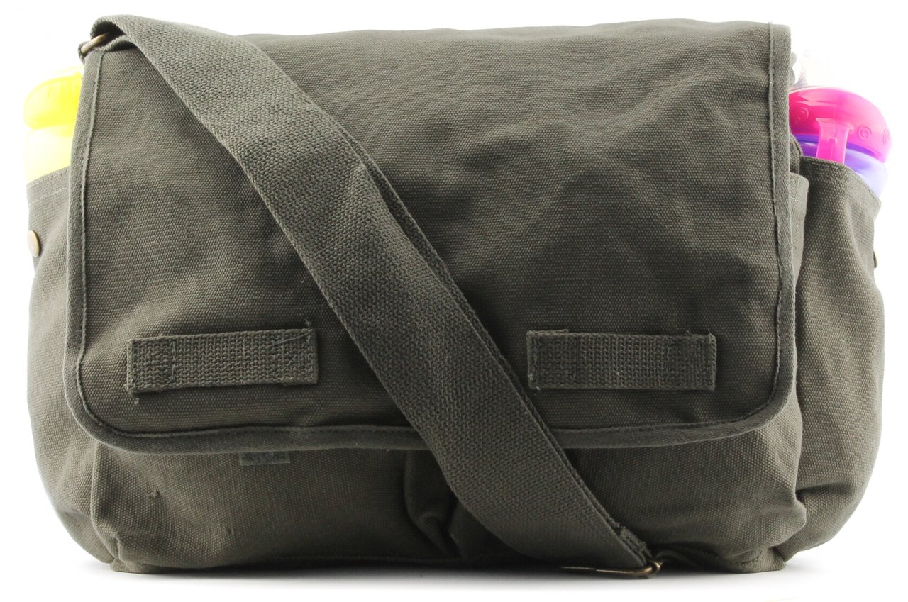 Heavyweight Army Canvas Messenger Shoulder Bag Carry-All Bookbag, Olive