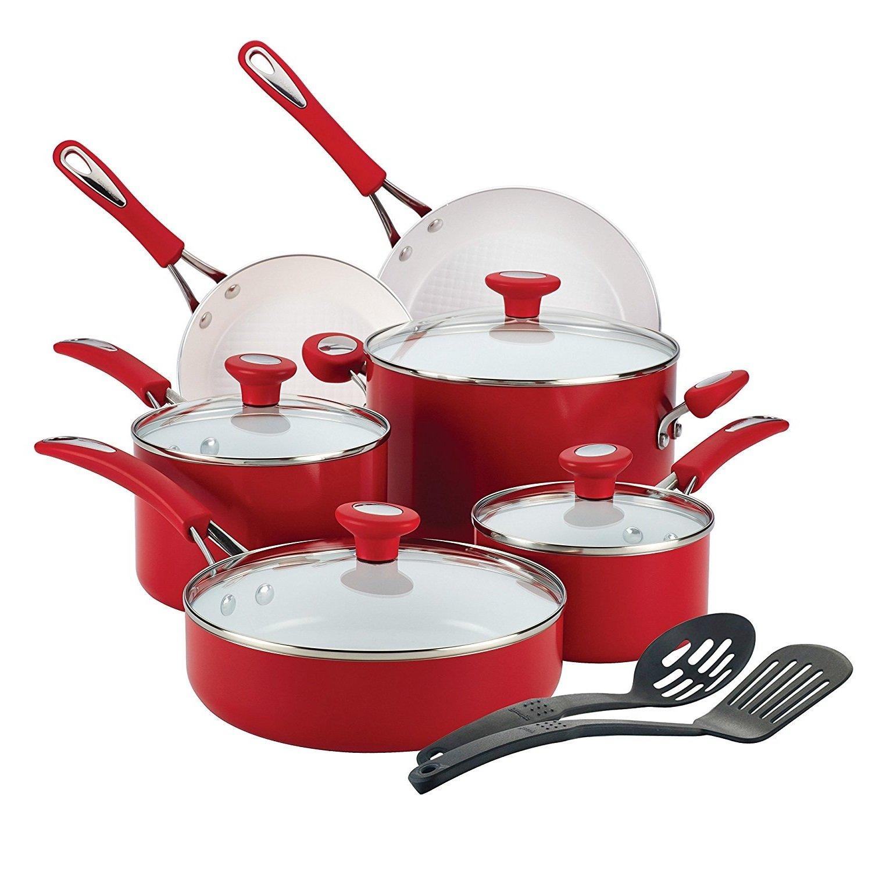 Premium Cookware Set Ceremic Nonstick 12 Piece, PFOA-, PTFE- and cadmium-free, Red