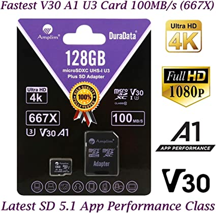 128GB Micro SD Card Plus Adapter Pack, Amplim 128 GB MicroSD SDXC Class 10 Pro U3 A1 V30 Extreme Speed 100MB/s UHS-I UHS-1 TF XC MicroSDXC Memory Card ...