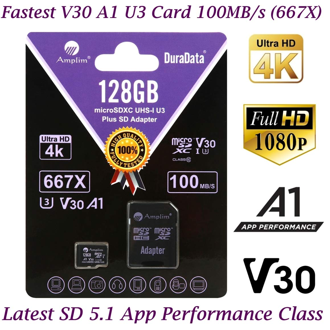 128GB Micro SD Card Plus Adapter Pack, Amplim 128 GB MicroSD SDXC Class 10 Pro U3 A1 V30 Extreme Speed 100MB/s UHS-I UHS-1 TF XC MicroSDXC Memory Card for Cell Phone, Nintendo, Galaxy, Fire, Gopro by Amplim