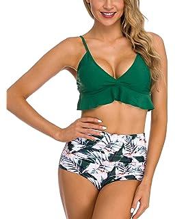 230564913b2 Coskaka Women Two Pieces High Waisted Ruffle Bikini Set Printed Swimwear  Bathing Suit Junior Bikini Swimsuits