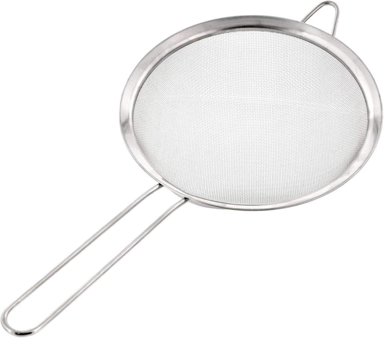 Fablcrew Escurridor de Cocina de Acero Inoxidable 16 cm utensilio de Cocina para escurrir avellanas Plata Verduras y harina colador de Malla Fina con asa