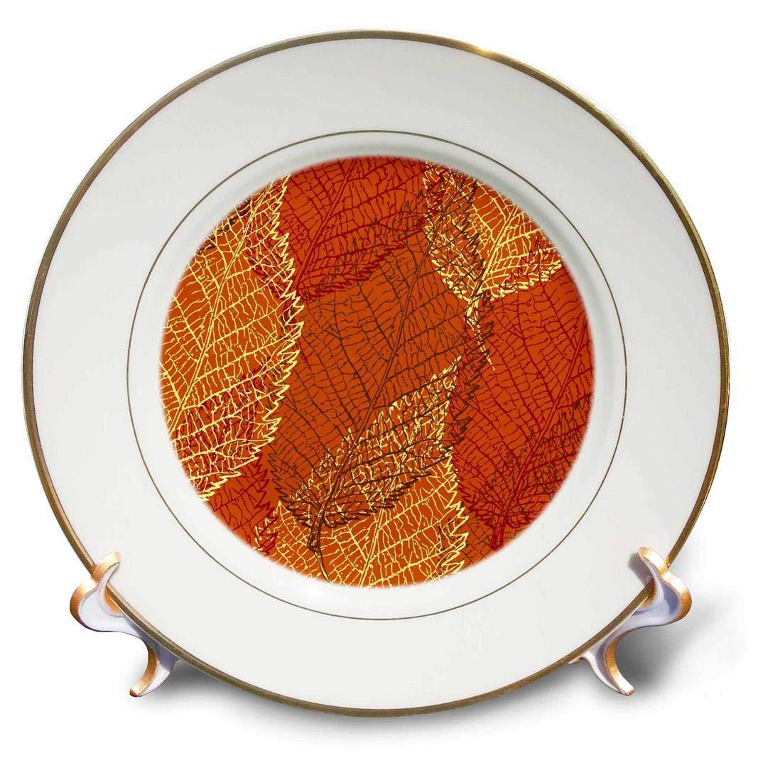 3D Rose Skeletal Leaf Pattern in Orange Brown and Yellow Porcelain Plate 8