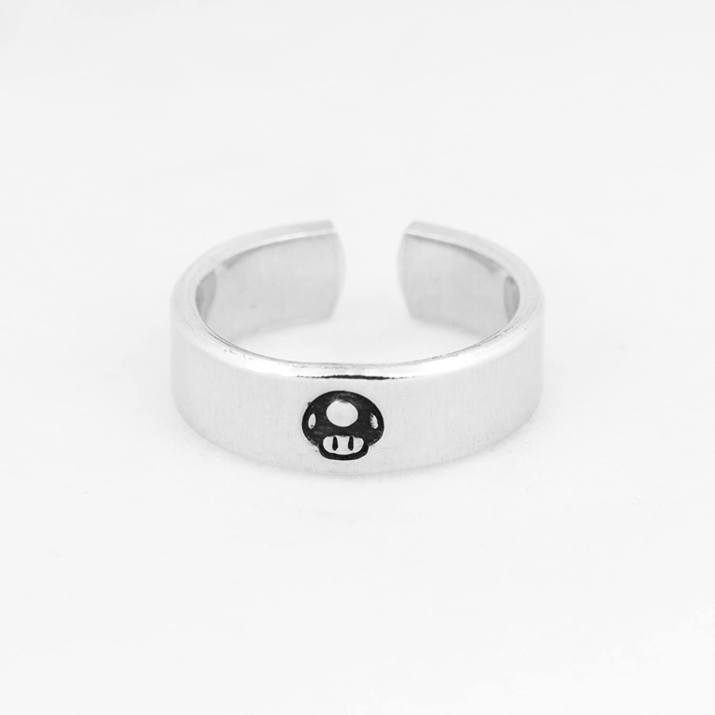 Amazon Com 1up Mario Mushroom Ring Super Mario Video Game Jewelry Adjustable Aluminum Cuff Ring Handmade