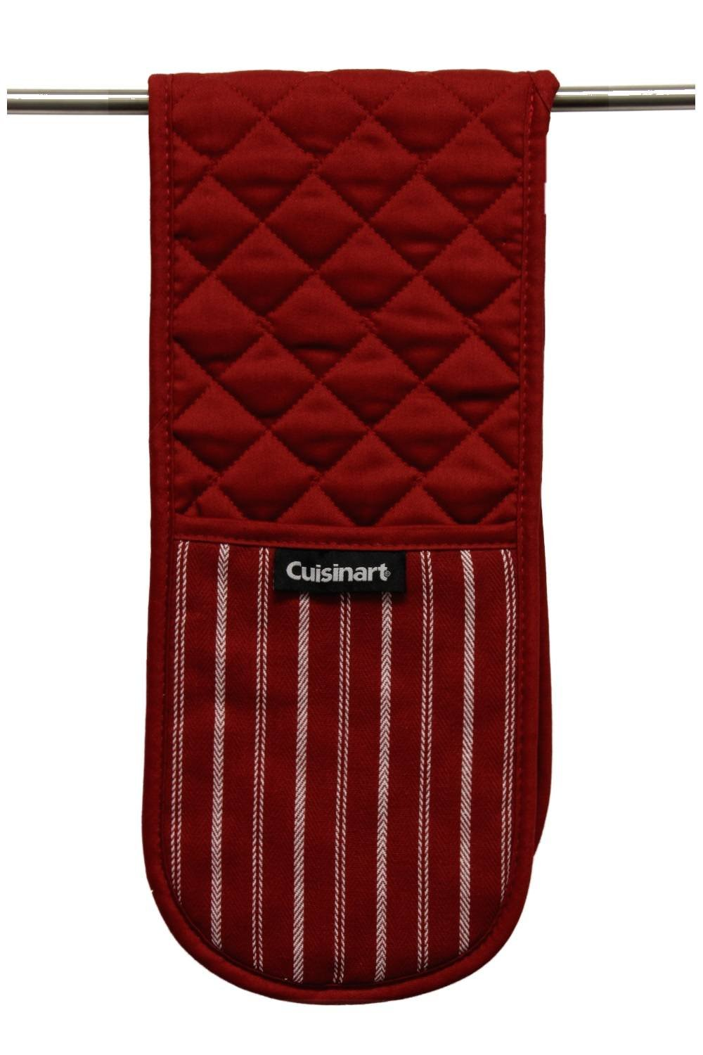 """Cuisinart Double Oven Mitt Glove/Moppine, Quilted Heat Resistant Kitchen Accessory, Twill Stripe, 35"""" x 7.5"""", Great for Cooking, Baking, and Handling Hot Pots & Pans- Red Dahlia by Cuisinart (Image #3)"""
