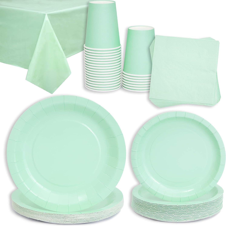 Juvale - Mantel para mesa, servilletas, platos, tazas (24 unidades)