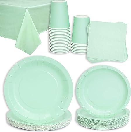 Incluye 24 platos de 9 pulgadas, 24 platos de 7 pulgadas, 24 tazas de 9 oz, 24 servilletas de 6.5 pu