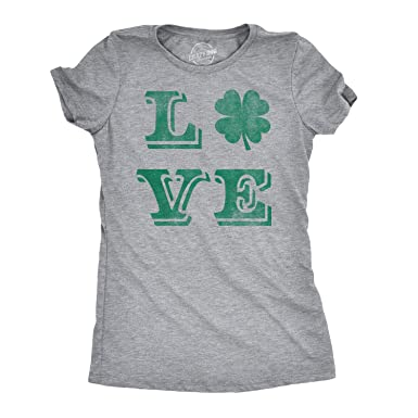 294ca2d6a Womens Love Lucky Clover Vintage Cute Irish St Patricks Day T Shirt for  Ladies (Heather