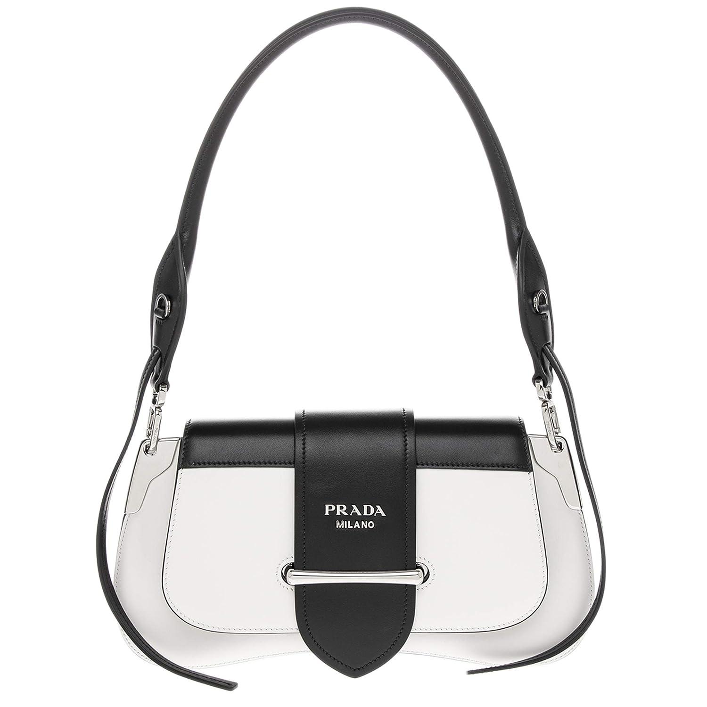 846f2ee84014 Amazon.com  Prada Sidonie Leather Shoulder Bag Black   White  TheLuxuryClub