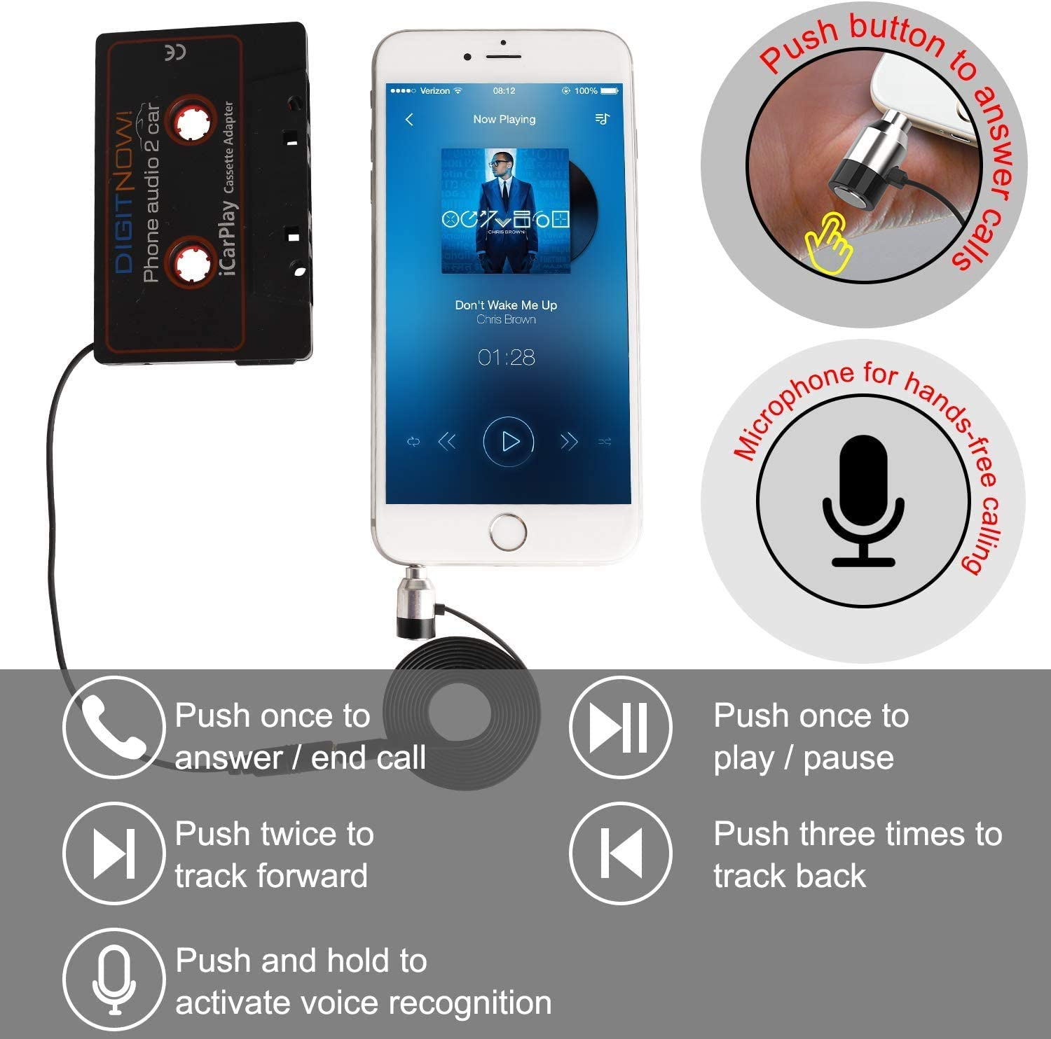 Car Cassette Adapter to Play Smartphone Music Through Cassette Deck with Auxiliary Calling Microphone Cassette Adapter Plug /& Play