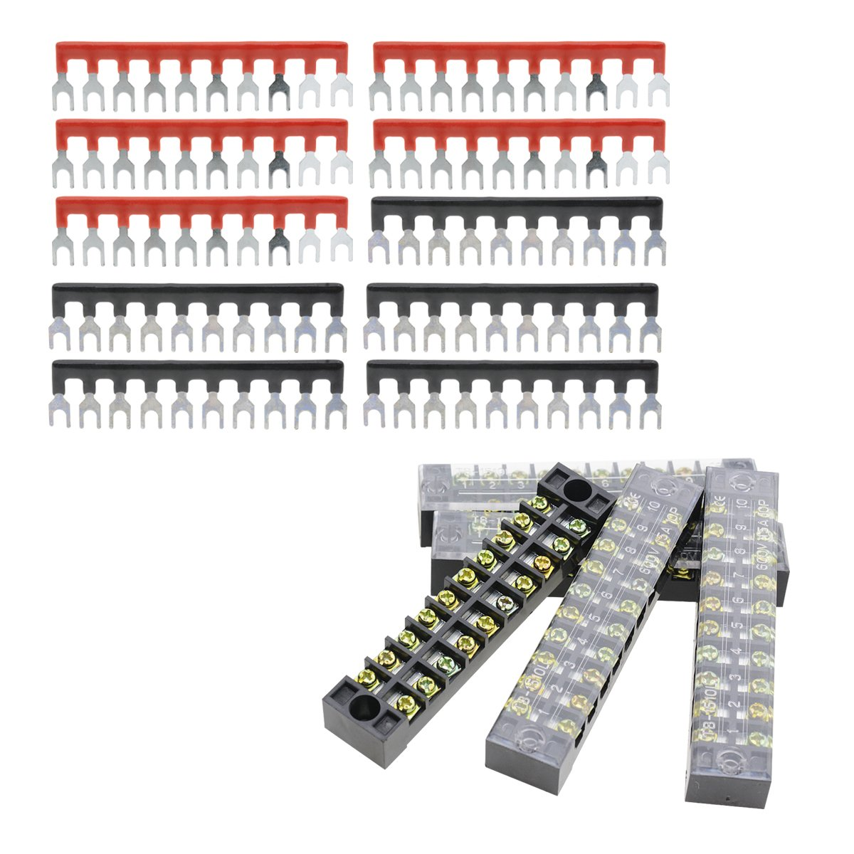 Red Black Pre-Insulated Fork Type Jumper Strip YXQ 600V 15A 10 Positions Double Row Screw Terminal Barrier Strip Block Conector and 15A 10 Positions 5+5