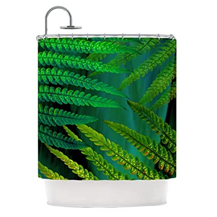 Forest Fern Plant Pattern Bold Earthy Top Shower Curtain Printed Bright Graphic Leafs Design