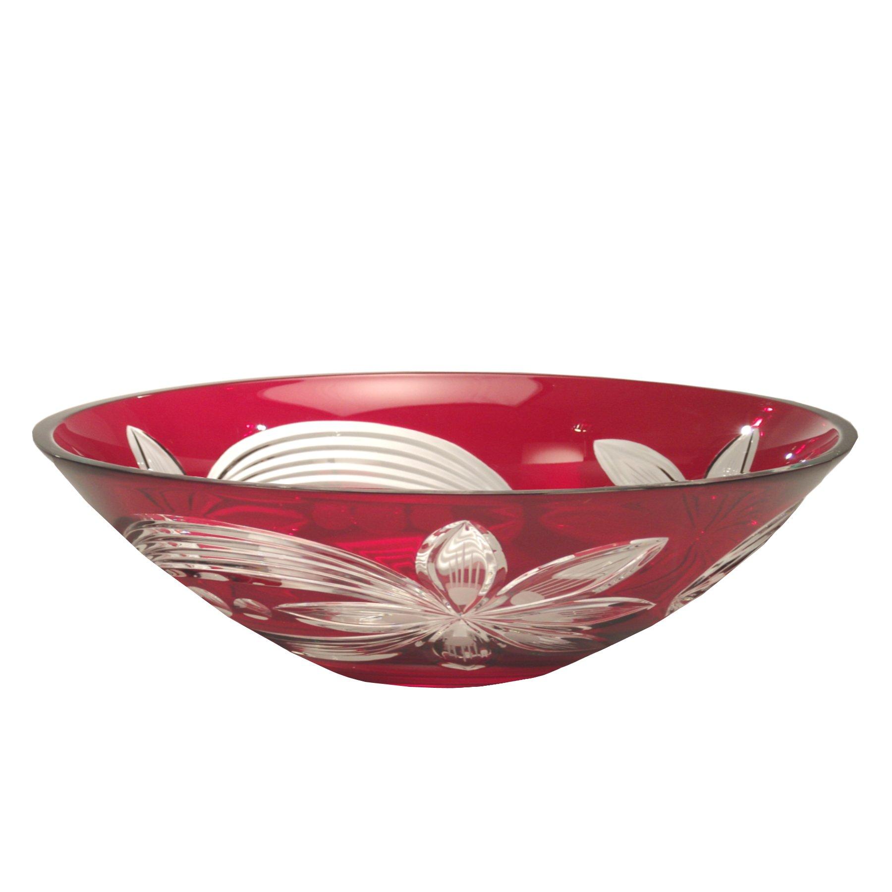 Dale Tiffany GA60836 Red Floral Decorative Crystal Bowl, 13-Inch by 3-3/4-Inch