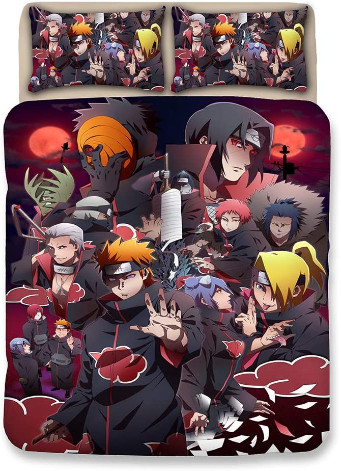 FJMM Anime 3Pcs Bedding Set 3D Printing Naruto Duvet Cover Set Soft(No Comforter),Queen