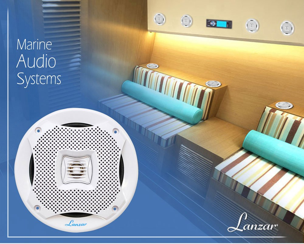 Lanzar 5.25 Inch Marine Speakers - 2 Way Water Resistant Audio Stereo Sound System with 400 Watt Power, Attachable Grills and Resin Treatment for Indoor and Outdoor Use - 1 Pair - AQ5CXW (White)
