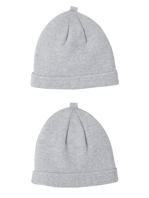 VERTBAUDET Lot de 2 bonnets b/éb/é sp/écial maternit/é en coton bio GRIS CLAIR CHINE NAISSANCE//1M 50//54CM