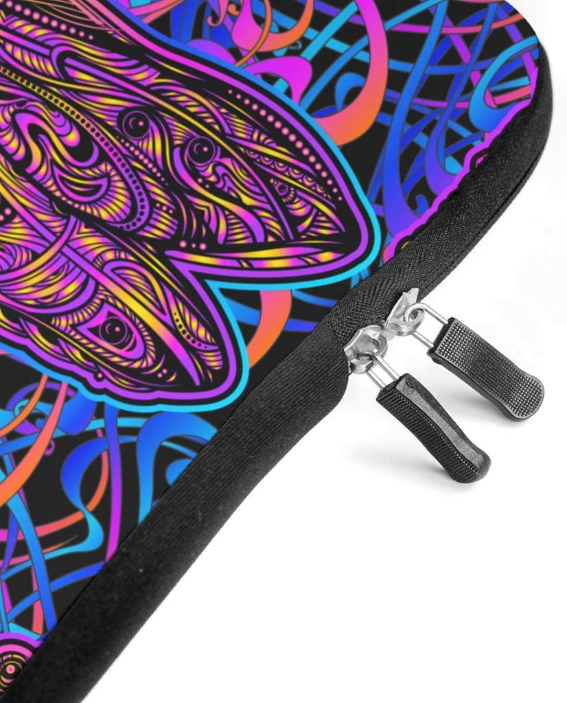 Funny Tablet Bag Mandala Animal Insect Dragonfly Full Printed Laptop Handbag Lightweight Neoprene Fabric Laptop Computer Carrying Case Compatible with Laptop White 15inch