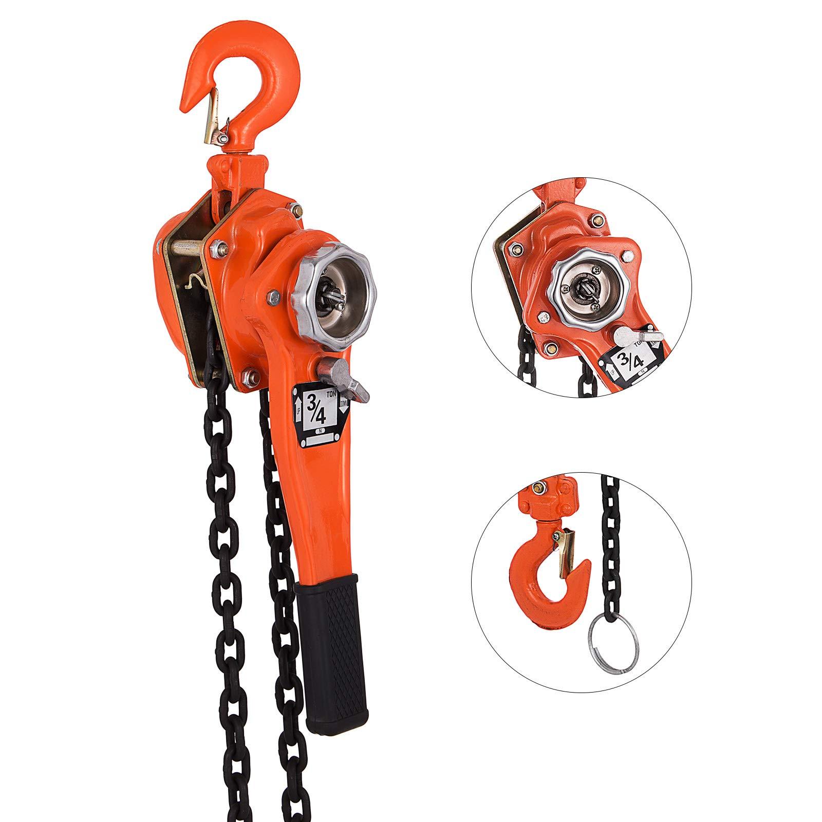Happybuy 3/4 Ton Chain Hoist 5 FT Lift Lever Block Chain Hoist 1650LBS Chain Ratchet Lever Block Chain Hoist Come Along Lift Puller(3/4 Ton 5ft)
