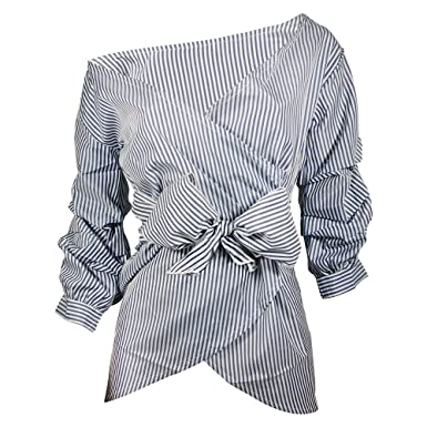 c9c45bf56855 Bonboho Women s Sexy Off Shoulder Shirts V Neck Wrap Bell Sleeve Belted Tie  Waist Top Blouse