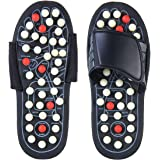 Reflexology Sandals, Aolvo Accupressure Slippers Foot Therapy Massage Slippers with 82 Removable Rotating Acupuncture Points for Plantar Fasciitis Non-Slip Healthy Shoes for Women Men,1 Pair (42-43)