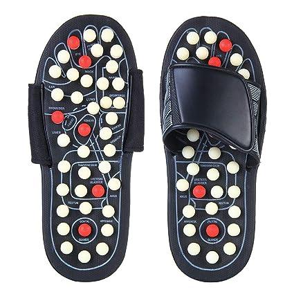 a33d85a4e3dc2 FOONEE Acupressure Massage Slippers, Reflexology Shoes Unisex Adult Massage  Sandals Pain Relief Shoes(38-45 Black)