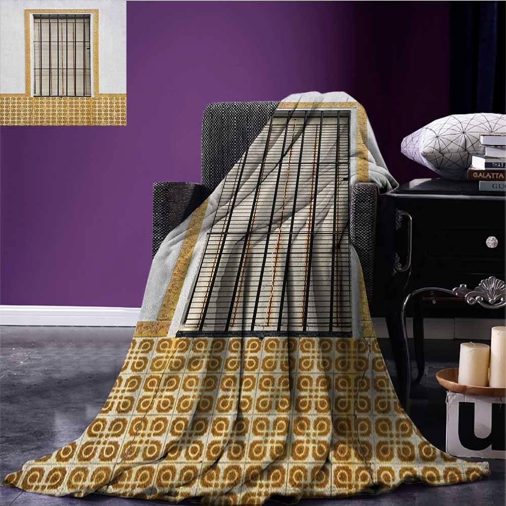 Country wearable blanket Image of Modern Spanish Window and Shutters with Mosaic Patterns Urban City Life security blanket Golden White size:60''x80''