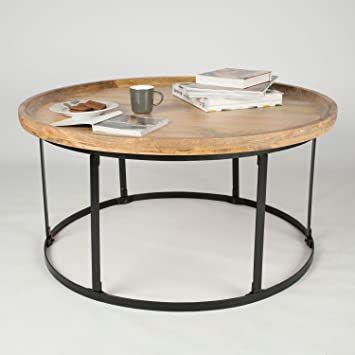 Homescapes Industrial Style Round Coffee Table Steel Frame Support 100%  Solid Oak Shade Mango Hardwood