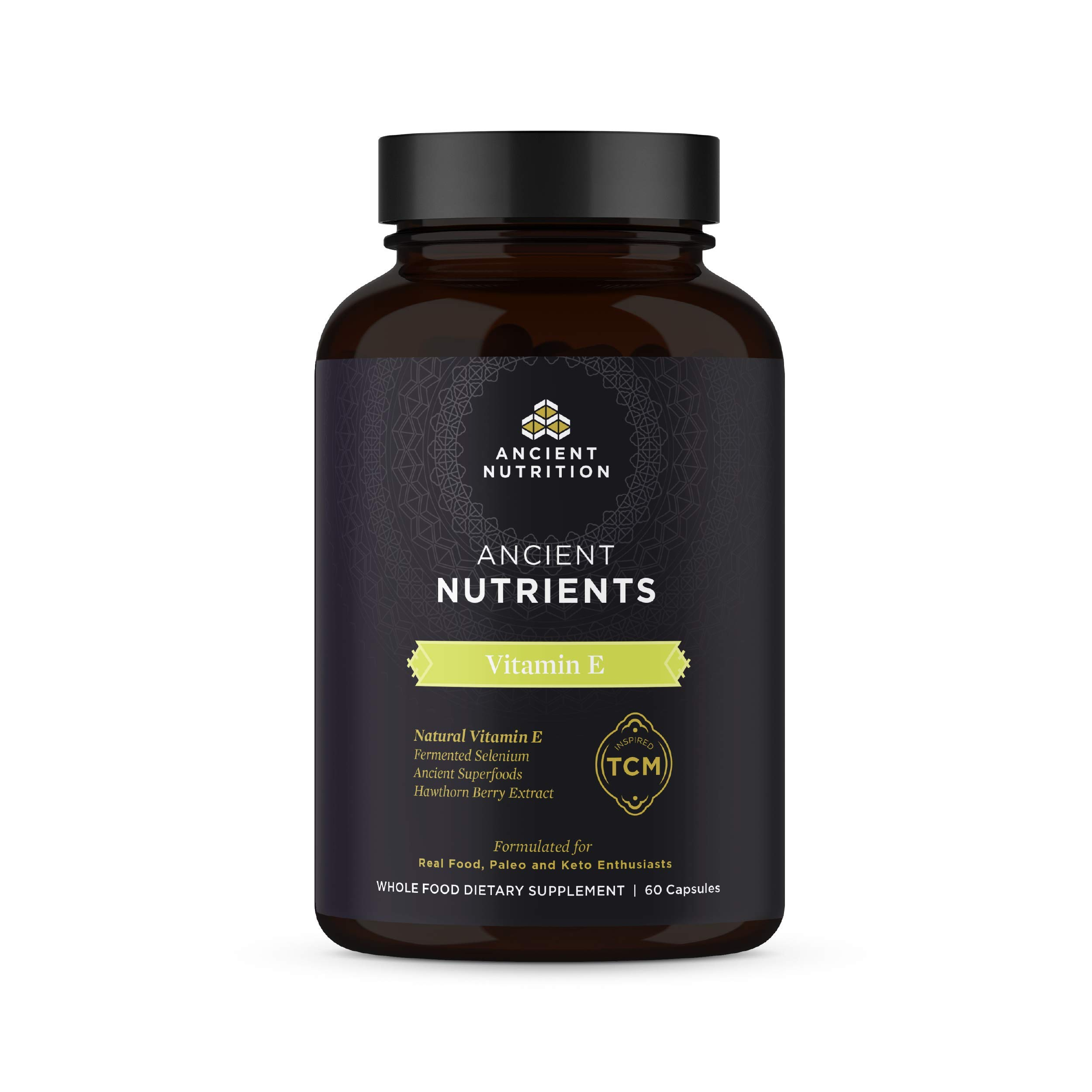 Ancient Nutrition, Ancient Nutrients Vitamin E - 95mg Vitamin E, Fermented Selenium, Enzyme Activated, Paleo & Keto Friendly, 60 Capsules