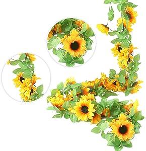 JOHOUSE 4 PCS 7.4FT Artificial Sunflower Garland Silk Sunflower Vine Artificial Flowers with Green Leaves Wedding Table Decor