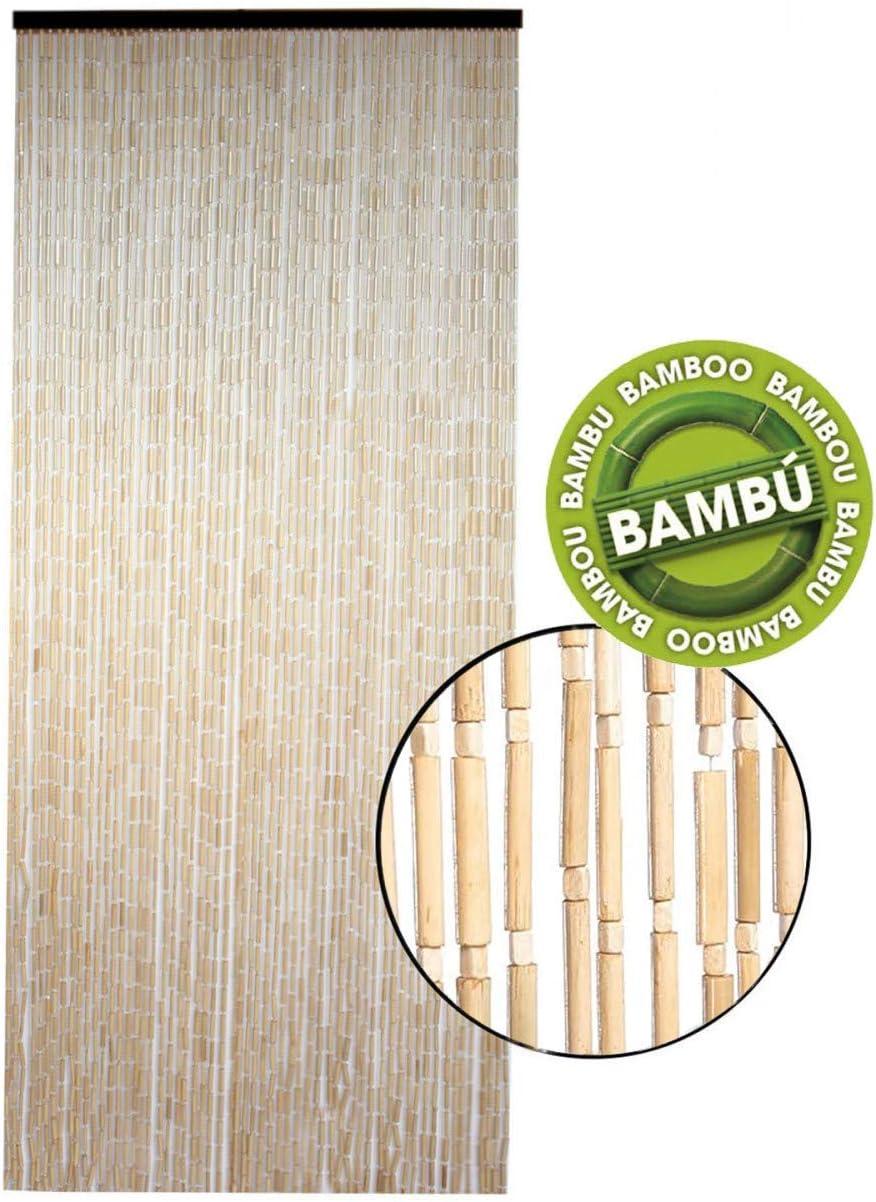 Hogar y Mas Cortina para Puerta Exterior de Bambú Natural, Cotina de Madera Sostenible Exenta de Plásticos, 90 x 200cm