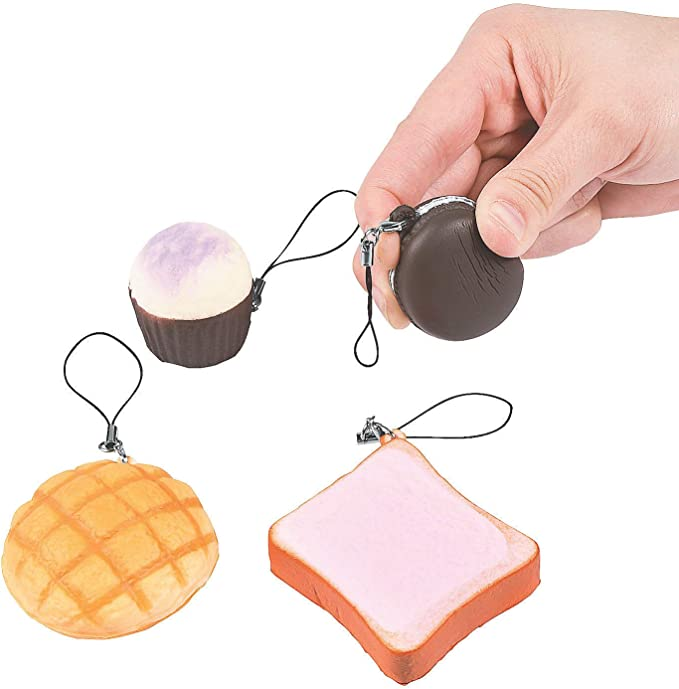 Cocobuy 3 Pcs Novelty Squeeze Stress Reliever Party Gifts Key Chain Realistic Artificial Cute Cake Bread for Venting and Relaxing Party Supplies Decorations Souvenirs Gift