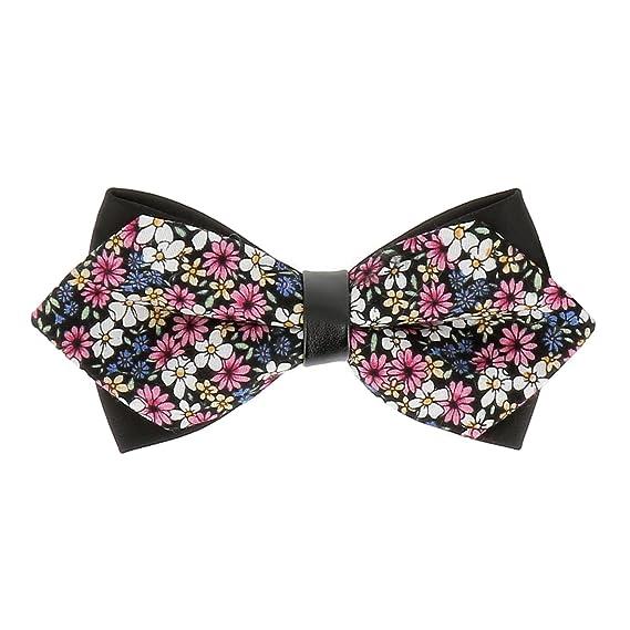 5ef5a18251c5d cravateSlim Noeud Papillon Double Liberty Noir et Rose - Noeud Papillon  Fleuri Homme Mariage - Noeud