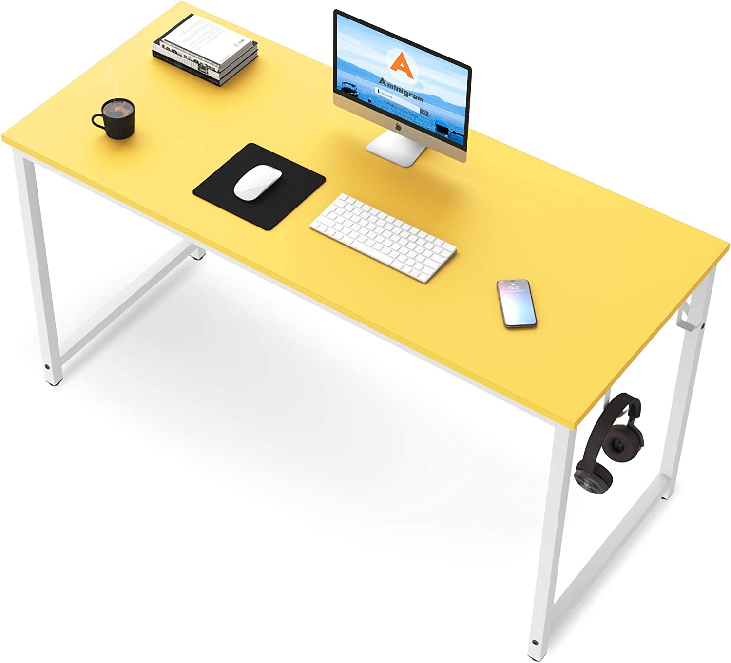 Yellow Computer Desk, 39 inch Home Office PC Desk Table, Smooth Yellow Board with White Metal Frame, Modern Study Writing Desk