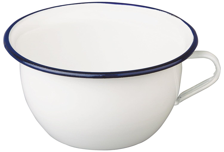 White//Blue IBILI Chamber Pot Blanca 2,7 l of Enamelled Steel Ceramic 22 x 22 x 11 cm