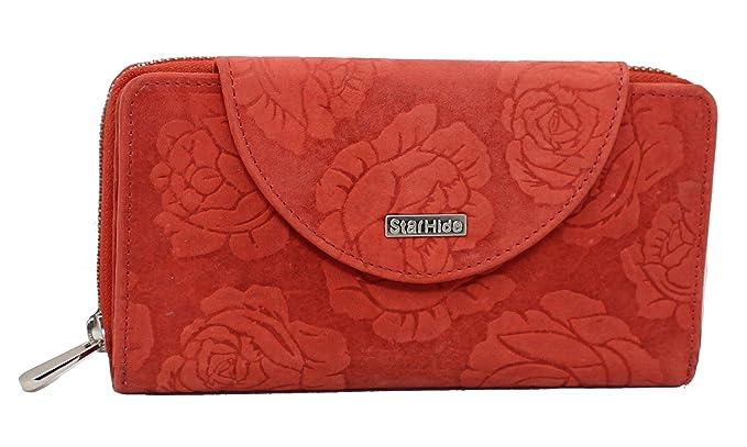 StarHide Bolso De Mujer Con Estampado De Flores Cuero Real Cazado En Dificultades Billetera Con Bloqueo