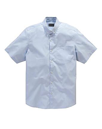 a82bcd99e23 Mens Black Label by Jacamo Caldwell Short Sleeve Button Down Collar Shirt  Sky