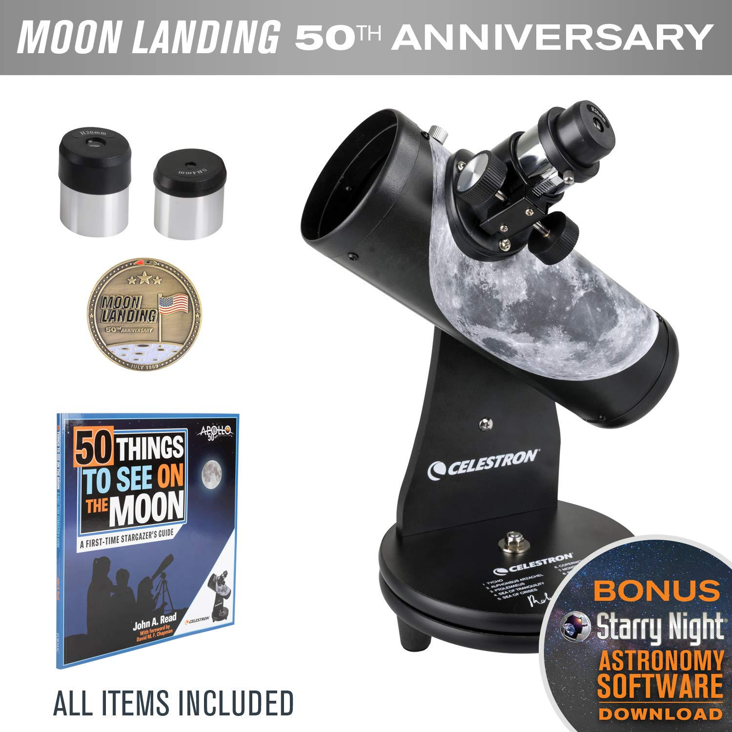 Celestron Firstscope Signature Series R.Reeves Limited Edition Apollo 11 50Th Anniversary Bundle by Celestron