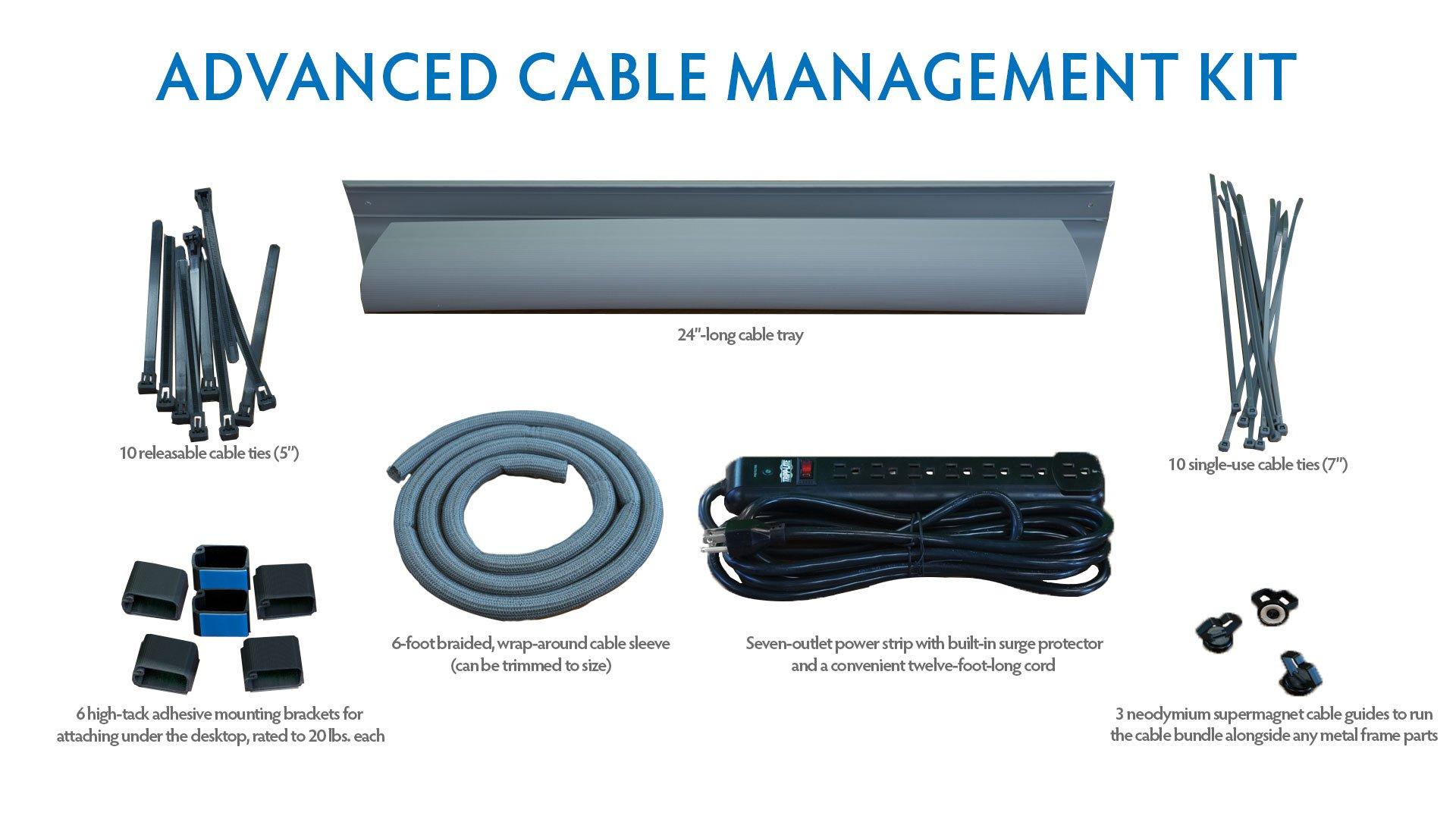 iMovR Cable Management Kit for Standing Desk (Advanced Kit, Silver)