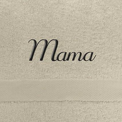 Toalla de baño con nombres Mama bordados, 70 x 140 cm, beige, extra