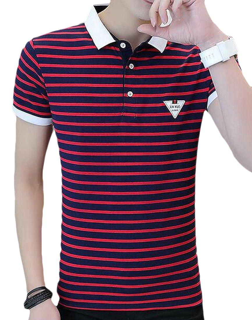 FRPE-Men Stripe Shirts T-Shirt Short Sleeve Business Casual Polo Shirt