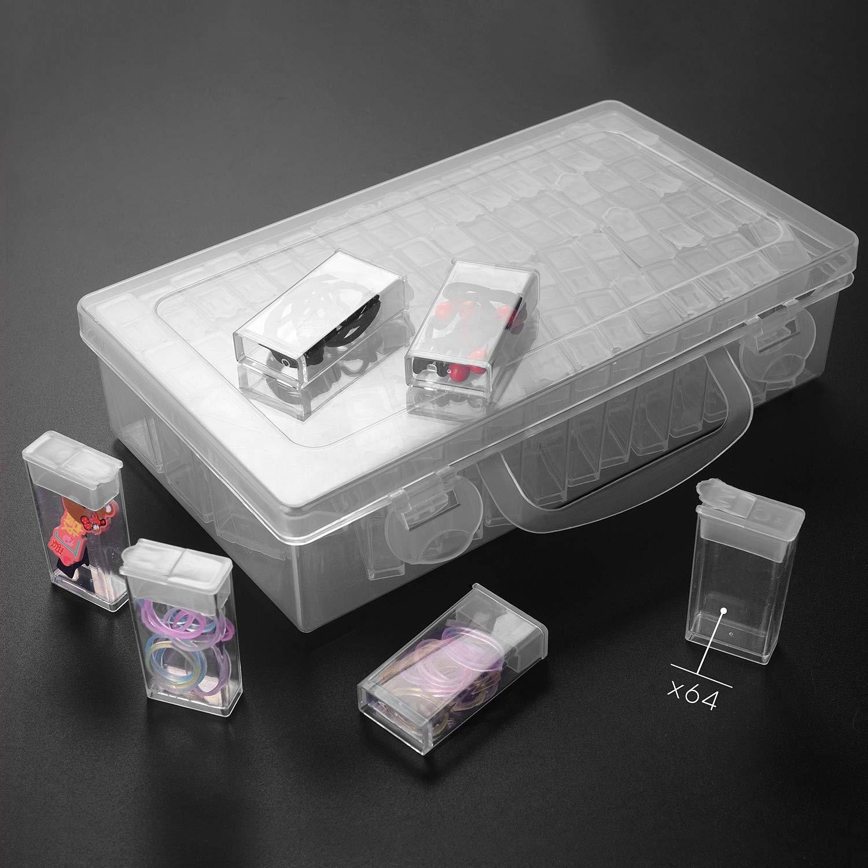 Surhomic 64 Compartimento Pl/ástico Rejillas Mini Caja de Bordado Almacenamiento de Cuentas Caja de Diamante de Pitura de Herramiente Transparente Almacenamiento